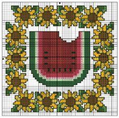 Watermelon Sunflowers Trivet Set chart from DMC. Designed by Lois Winston