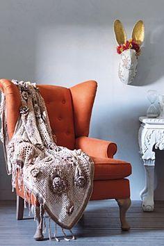 Howell Wingback Chair, Orange