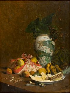 PEDRO ALEXANDRINO - Natureza morta com vaso e frutas Óleo sobre tela - 117 x 90 - 1895