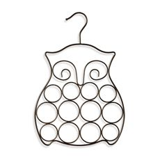 This metal scarf holder is in the shape of an owl to provide a stylish, yet functional accessory that keeps your belts and scarves neatly organized. Made using steel with a bronze finish. Scarf holder features loops and a hanger to hold and organize scarves in your closet. Features 12 rings and 2 loops for optimal storage space. #BedBathAndBeyond