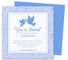 Lovebirds Bridal Shower Invitations Template. Easy to use wedding invitation templates compatible with Word, Publisher, Apple iWork Pages, OpenOffice. Printable DIY, shown in blue, available in peach, green, purple, yellow and pink.