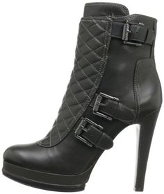 The Nine West Aspida is a fun and refreshing platform short boot with a quilted leather upper and buckle detailing.