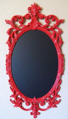 red framed chalk board