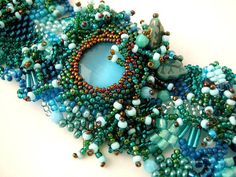 Beaded bracelet, Beadwork bracelet, Freeform peyote bracelet Seed bead jewelry, Beaded cuff