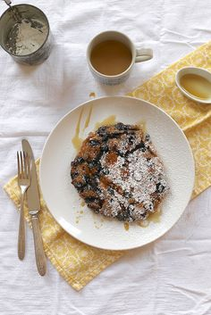 The Single Pancake with blueberries and chocolate