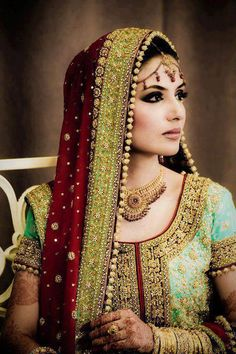 Stunning Bridge. Mix of Colours, a perfect touch of each. wedding dressses, color combos, makeup tips, bride makeup, wedding day makeup, bridal makeup, bridal jewellery, indian bridal, indian bride