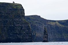 Take a Cliffs of Moher Cruise! O'Briens Tower and An Branán Mór Sea Stack as seen from the deck of the Jack B, a Doolin2Aran ferry.