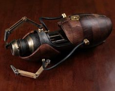 Beautiful Steampunk Portal Gun Made of Wood, Glass and Metal