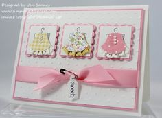 "Sweet Little Baby-made with owl builder punch. 1 1/4"" square punch, Scallop Square punch, Owl Builder punch, Jewelry Tag punch, Pretty in Pink satin ribbon, Vintage Trinkets, Basic Pearls, Big Shot, Perfect Polka Dots embossing folder"