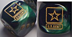 NEW Custom designed Army dice. Gold on camouflage background. $3.99 a pair. CatMonkeyGames@aol.com