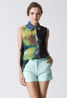 Galaxy Print Asymmetric Top by Chic+