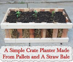 A Simple Crate Planter Made From Pallets and A Straw Bale