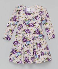 Look what I found on #zulily! Ivory Floral Skater Dress - Toddler & Girls by Chit-Chat #zulilyfinds