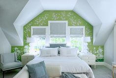 green chinoiserie accent wall
