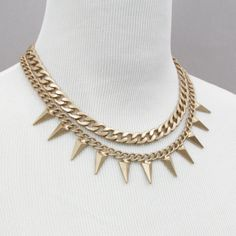 Double Chain Spike Necklace, SW194