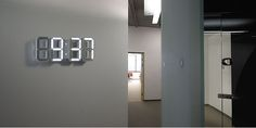 Probably one of the coolest clocks I've ever seen. cleanses, dates, offic, white walls, number, wall clocks, light, black, design