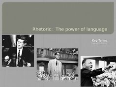 In this 17 page PowerPoint presentation, students will learn thirteen definitions of a variety of rhetorical techniques in order to become more critical users and consumers of language. Vocabulary such as Anaphora, Epistrophe, Ethos, Pathos, Logos, Hyperbole, Simile, Personification, Metaphor, Alliteration and more are defined and given examples. Photos of the authors, orators, and media are included for further reference and clarity. Grades 6-12. $