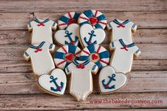 Nautical Baby Shower Sugar Cookies by TheBakedEquation on Etsy, $48.00 sugar cooki, nautic cooki, shower sugar, baby shower cookies, babi shower, baby showers