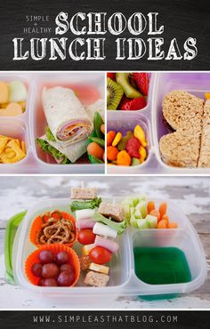 Simple and Healthy School Lunch Ideas - I won't be cutting sandwiches/fruit in to cute shapes, but there are 5 days worth of lunch ideas here that look great. Also like the idea of Jell-O in one compartment. My kids would flip for that. I use the Ziploc 3-compartment containers for our lunches.