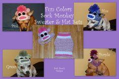 Sock Monkey Dog Sweater and Hats Sets - dog sweater 2-15 lbs   PoshPoochDesigns - Pets on ArtFire