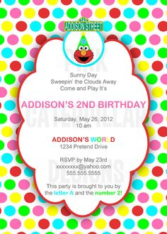 Had to pin this because of my daughter's name! Sesame Street Elmo Birthday Party Invitation  by PinkCaterpillar, $10.00
