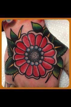hand tattoo | Tumblr hand tattoos, tat idea, steve byrn, flower power, awsom tat, tattoo flower old school, tradit ink, tradit tattoo, daisi tattoo