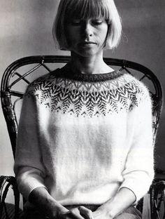 SCANDI STYLE - Kerstin Olsson modeling her Swan design Bohus sweater