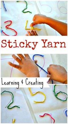 Easy fine motor activity: Learn and create with sticky yarn! #mathactivities #finemotoractivities