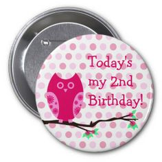 Pink Owl 2nd Birthday Button