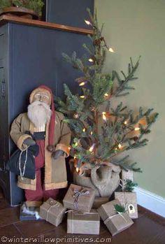 prim santa, winterwillow primit, primitive christmas, christma tree, country christmas, christmas eve, christmas trees, primit christma, prim christma