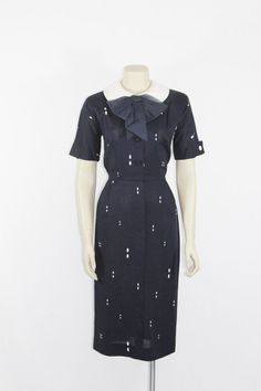 1940s Vintage Dress  Dark Blue with White Dots Novelty Print 40s Frock by VintageFrocksOfFancy, $170.00