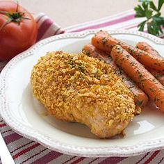Chicken breasts marinated in milk, then crusted with cornflakes.