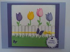 Tulip card with picket fence