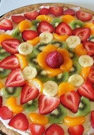 This fruit pizza is a beautiful and healthy dessert for Easter dinner! It will add great color and delicious taste onto your Easter table