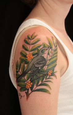 tattoo idea, bird tattoos, birds tattoos, bodi art, leav, branch, tattoo patterns, color combinations, ink
