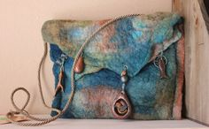Teal and brown wetfelted purse with handmade polymer by aleeworks, $85.00 love the colors! wetfelt purs, clays, brown wetfelt, copper, colors, felt bag, purs idea, polymer clay charms, felted purses