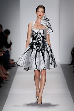 Dennis Basso Black and White Double Face Silk Floral Dress SS14