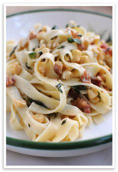 pasta carbonara with corn, chiles, fresh garlic, and parmesan...