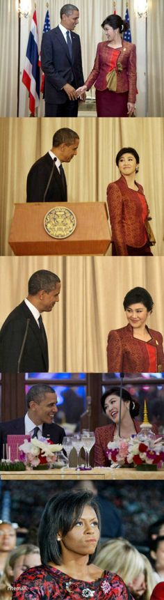 "Wait 'Till We Get Home Barack - I""m gonna beat your ass.   Now THIS is Funny!  Obama with the New Prime Minister of Thailand"