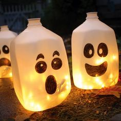 CRAFTS: 25 Halloween Projects (Just my own thought to so with this picture. Use an empty milk jug, decorate with sharpies of any color, fill with water & add Florescent Glow sticks instead!!)