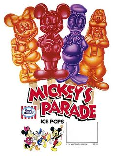 Disney popsicles totally remember these...they were a little different though--I remember lemon and lime, too.
