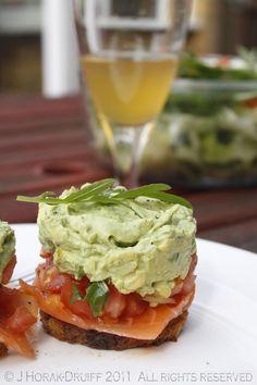 Smoked salmon and avocado stacks