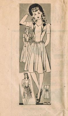 Vintage 1940s Marian Martin 9929 Sewing Pattern by midvalecottage, $14.00