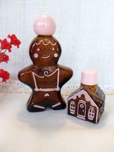 Gingerbread Man and House Cologne Bottles, Avon Amber Glass Cologne Bottles