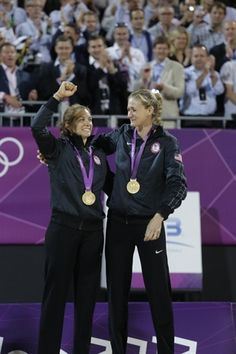 May-Treanor and Walsh Jennigns receive their gold medals during the women's beach volleyball medal ceremony. the women, gold medal, beach volleyball, walsh jennign, women beach, medal ceremoni, role models