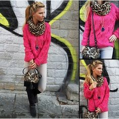 pink knit sweater, grey skinny jeans, black ...