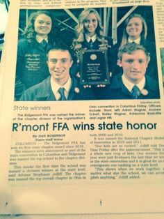 Ridgemont FFA won Ohio's #1 FFA Chapter Model of Innovation! The three activities we highlighted were: Advocating a Agriculture with Pinterest, BRIDGE Issue Analysis Process with OSU Alber Center, and Random Acts of Kindness Events.