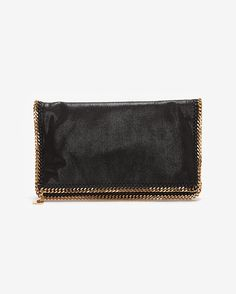 Stella McCartney Falabella Shaggy Deer Foldover Clutch: Black- Available In Store Only
