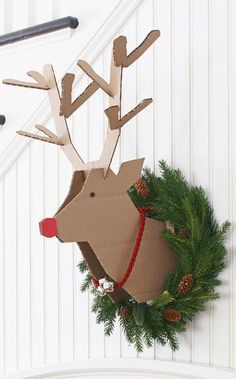christmas diy project -- scrap cardboard instructions on how to make a reindeer head to mount on the wall for your decor