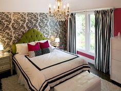 It's hard to believe this contemporary bedroom is for a preteen girl. The design incorporates the girl's favorite colors and patterns. The bright green headboard adds to her love of rock 'n' roll music. interior, girl room, idea, headboard, color, bedroom design, girl bedrooms, wallpapers, accent walls